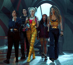 This image released by Warner Bros. Pictures shows, from left, Rosie Perez, Mary Elizabeth Winstead, Margot Robbie, Ella Jay Basco and Jurnee Smollett-Bell in a scene from