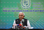 """Pakistan's aviation minister Ghulam Sarwar Khan speaks during a press conference in Islamabad, Pakistan, Wednesday, June 24, 2020.  Khan said that """"human error"""