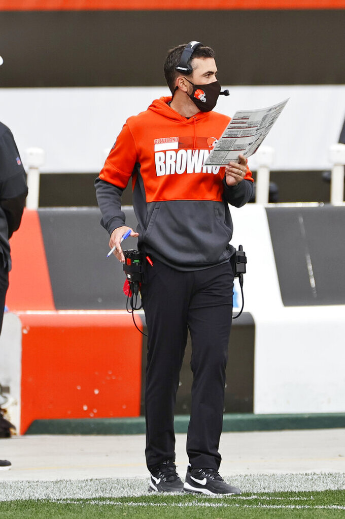 Cleveland Browns head coach Kevin Stefanski watches during the first half of an NFL football game against the Indianapolis Colts, Sunday, Oct. 11, 2020, in Cleveland. (AP Photo/Ron Schwane)