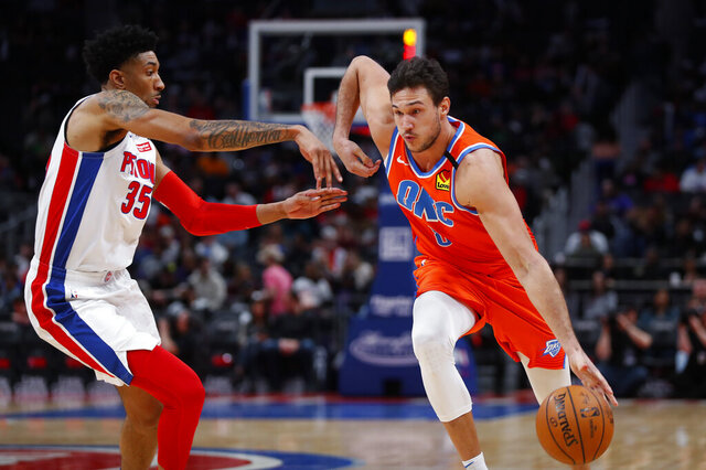 Oklahoma City Thunder forward Danilo Gallinari (8) drives on Detroit Pistons forward Christian Wood (35) in the second half of an NBA basketball game in Detroit, Wednesday, March 4, 2020. (AP Photo/Paul Sancya)
