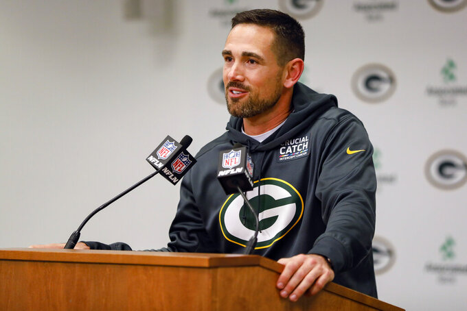 Green Bay Packers head coach Matt LaFleur speaks during a news conference following an NFL football game against the Detroit Lions, Monday, Oct. 14, 2019, in Green Bay, Wis. Green Bay won 23-22. (AP Photo/Mike Roemer)