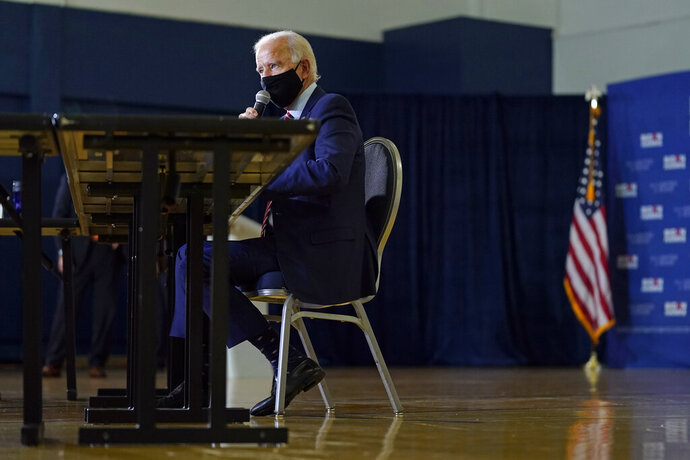 Democratic presidential candidate and former Vice President Joe Biden speaks during a roundtable discussion with veterans, Tuesday, Sept. 15, 2020, at Hillsborough Community College in Tampa, Fla. (AP Photo/Patrick Semansky)
