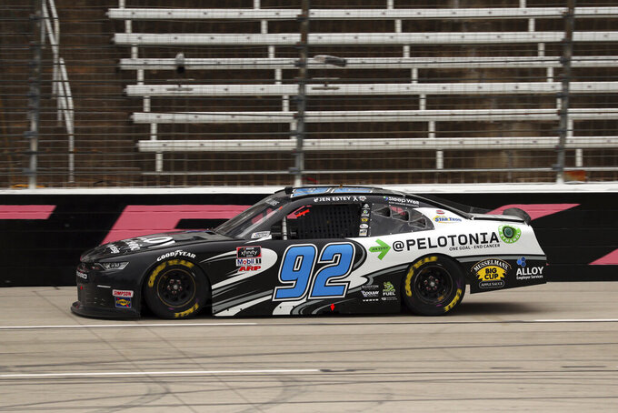 NASCAR Xfinity Series driver Josh Williams (92) comes down the front stretch during a NASCAR Xfinity Series auto race at Texas Motor Speedway in Fort Worth, Texas, Saturday Oct. 24, 2020. (AP Photo/Richard W. Rodriguez)