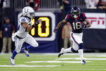Houston Texans wide receiver Keke Coutee (16) runs past Indianapolis Colts strong safety Clayton Geathers (26) after making a catch during the second half of an NFL wild card playoff football game, Saturday, Jan. 5, 2019, in Houston. (AP Photo/Michael Wyke)