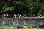 The breakaway group ride during the twelfth stage of the Tour de France cycling race over 209,5 kilometers (130 miles) with start in Toulouse and finish in Bagneres-de-Bigorre, France, Thursday, July 18, 2019. (AP Photo/ Christophe Ena)