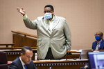 Alderman Jason Ervin of Chicago's 28th Ward speaks in support of a proposal for civilian oversight of the Chicago Police Department during a Chicago City Council meeting at City Hall, Wednesday, July 21, 2021. (Ashlee Rezin/Chicago Sun-Times via AP)