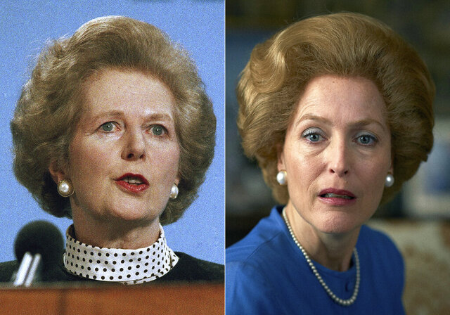 This combination of photos shows Gillian Anderson, portraying Margaret Thatcher in a scene from the fourth season of