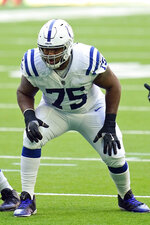 FILE - In this Dec. 6, 2020, file photo, Indianapolis Colts offensive lineman Chaz Green (75) lines up for the snap during an NFL football game against the Houston Texans in Houston . The Pittsburgh Steelers added depth at outside linebacker and offensive line on the eve of training camp, signing free agents Melvin Ingram and Chaz Green to one-year deals Tuesday, July 20, 2021. Financial terms were not disclosed.  (AP Photo/Matt Patterson, File)