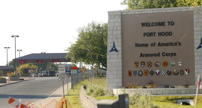 This Nov. 5, 2009 file photo shows the entrance to Fort Hood Army Base in Fort Hood, Texas, near Killeen, Texas. As much as President Donald Trump enjoys talking about winning and winners, the Confederate generals he vows will not have their names removed from U.S. military bases were not only on the losing side of rebellion against the United States, some weren't even considered good generals. Or even good men. The 10 generals include some who made costly battlefield blunders; others mistreated captured Union soldiers, some were slaveholders, and one was linked to the Ku Klux Klan after the war. (AP Photo/Jack Plunkett, File)