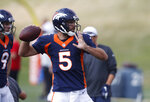 Denver Broncos quarterback Joe Flacco throws a pass during a combined NFL football training camp with the San Francisco 49ers at the Broncos' headquarters Friday, Aug. 16, 2019, in Englewood, Colo. (AP Photo/David Zalubowski)