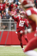 Washington State quarterback Anthony Gordon (18) throws a pass during the first half of an NCAA college football game against Stanford in Pullman, Wash., Saturday, Nov. 16, 2019. (AP Photo/Young Kwak)