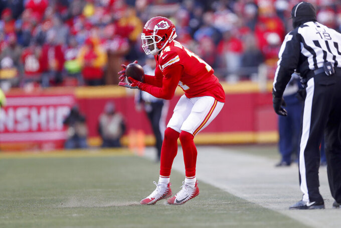 Kansas City Chiefs' Sammy Watkins catches a pass in bounds during the second half of the NFL AFC Championship football game against the Tennessee Titans Sunday, Jan. 19, 2020, in Kansas City, MO. (AP Photo/Jeff Roberson)