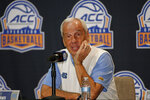 North Carolina coach Roy Williams answers a question during the Atlantic Coast Conference NCAA college basketball media day in Charlotte, N.C., Tuesday, Oct. 8, 2019. (AP Photo/Nell Redmond)