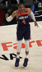 Washington Wizards' Russell Westbrook reacts during the first half of an NBA basketball game against Atlanta Hawks, Monday, May 10, 2021, in Atlanta. (AP Photo/Ben Margot)