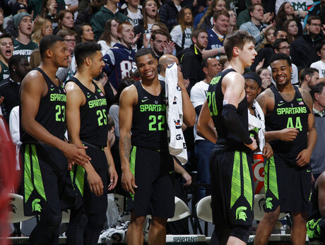 Xavier Tillman, Kenny Goins, Miles Bridges, Matt McQuaid, Cassius Winston, Nick Ward