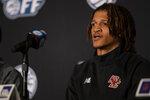 Boston College guard Makai Ashton-Langford speaks during NCAA college basketball Atlantic Coast Conference media day, Tuesday, Oct. 12, 2021, in Charlotte, N.C. (AP Photo/Matt Kelley)