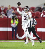 Mississippi State quarterback Will Rogers (2) throws a pass against Alabama during an NCAA college football game Saturday, Oct. 31, 2020, in Tuscaloosa, Ala. (Gary Cosby Jr./The Tuscaloosa News via AP)
