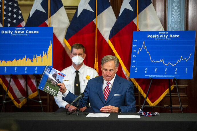 Gov. Greg Abbott addresses a news conference at the State Capitol in Austin, Texas, about the coronavirus pandemic Monday, June 22, 2020. Abbott said he has no plans to shut down the state again.