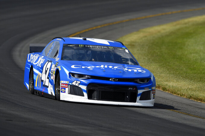 Kyle Larson (42) drives through Turn 3 during a NASCAR Cup Series auto race, Sunday, July 28, 2019, in Long Pond, Pa. Denny Hamlin won the race. (AP Photo/Derik Hamilton)