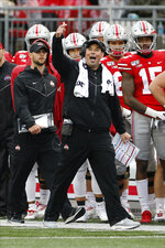 Ohio State head coach Ryan Day shouts to his team during the second half of an NCAA college football game against Wisconsin, Saturday, Oct. 26, 2019, in Columbus, Ohio. Ohio State beat Wisconsin 38-7. (AP Photo/Jay LaPrete)