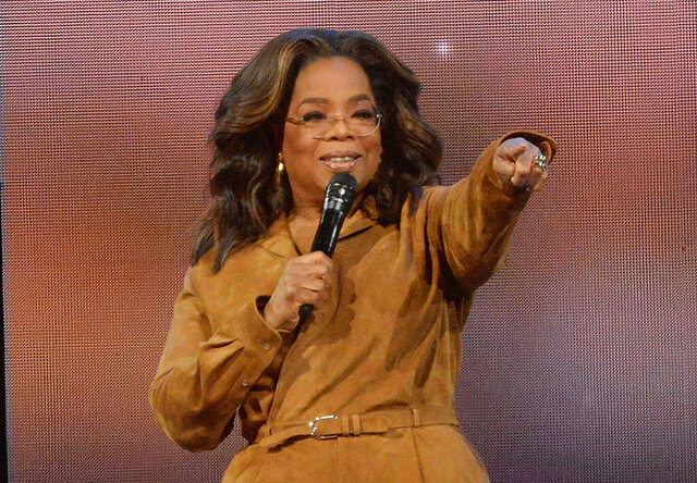 FILE - This Feb. 8, 2020 file photo shows Oprah Winfrey during