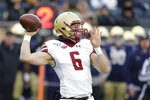Boston College quarterback Dennis Grosel (6) throws against Notre Dame during the first half of an NCAA college football game in South Bend, Ind., Saturday, Nov. 23, 2019. (AP Photo/Michael Conroy)