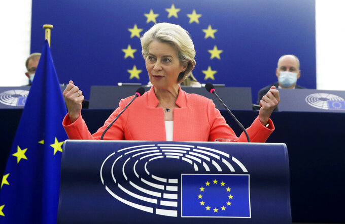 European Commission President Ursula von der Leyen delivers a State of the Union Address at the European Parliament in Strasbourg, France, Wednesday, Sept. 15, 2021. The European Union announced Wednesday it is committing 200 million more coronavirus vaccine doses to Africa to help curb the COVID-19 pandemic on a global scale. (Yves Herman, Pool via AP)
