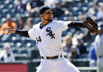 FILE - In this April 9, 2019, file photo, Chicago White Sox starting pitcher Ervin Santana throws against the Tampa Bay Rays during the first inning of a baseball game in Chicago. Santana has agreed to a minor league contract with the New York Mets pending a successful physical.  Santana became a free agent on April 29, three days after he was designated for release by the White Sox, who signed him for a $4.3 million salary this year. (AP Photo/Nam Y. Huh, File)