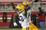 Green Bay Packers wide receiver Marquez Valdes-Scantling, left, celebrates with Davante Adams after scoring against the San Francisco 49ers during the first half of an NFL football game in Santa Clara, Calif., Thursday, Nov. 5, 2020. (AP Photo/Tony Avelar)