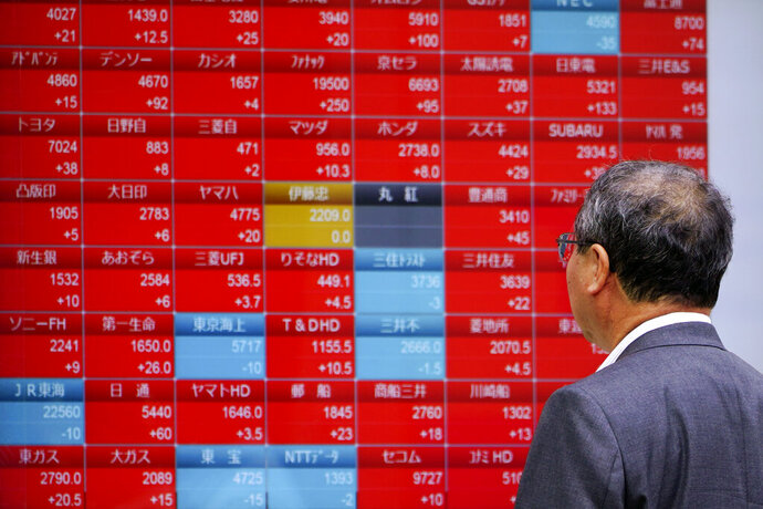 A man looks at an electronic stock board showing Japan's Nikkei 225 index at a securities firm in Tokyo Tuesday, Oct. 8, 2019. (AP Photo/Eugene Hoshiko)