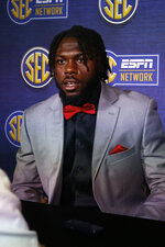 Missouri defensive back DeMarkus Acy speaks during the NCAA college football Southeastern Conference Media Days, Monday, July 15, 2019, in Hoover, Ala. (AP Photo/Butch Dill)