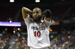 San Diego State's KJ Feagin reacts during the first half of a Mountain West Conference tournament NCAA college basketball game against Boise State on Friday, March 6, 2020, in Las Vegas. (AP Photo/Isaac Brekken)