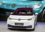 The new Volkswagen ID.3 is displayed at the IAA Auto Show in Frankfurt, Germany, Monday, Sept. 9, 2019. (AP Photo/Michael Probst)