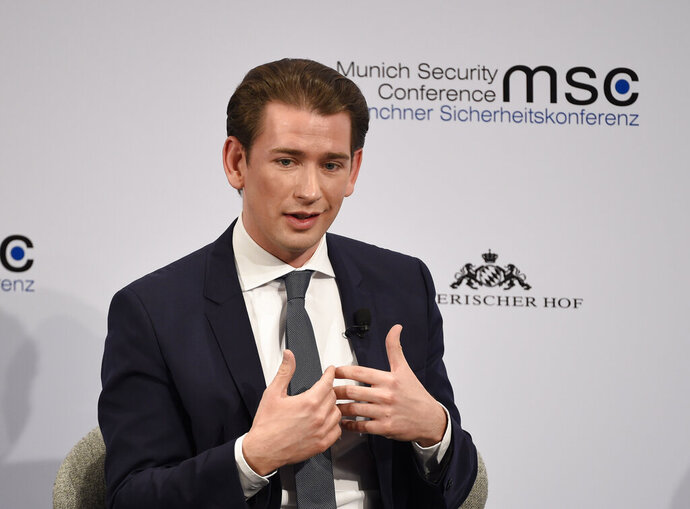 Austrian Chancellor Sebastian Kurz speaks on the first day of the Munich Security Conference in Munich, Germany, Friday, Feb. 14, 2020. (AP Photo/Jens Meyer)b