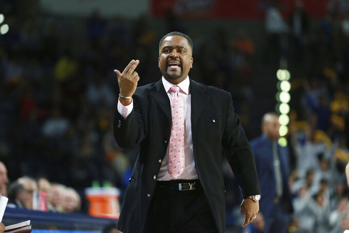 Tulsa head coach Frank Haith instructs his team in the first half of an NCAA college basketball game against Memphis in Tulsa, Okla., Wednesday, Jan. 22, 2020. (AP Photo/Joey Johnson)