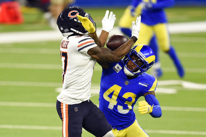 Los Angeles Rams safety John Johnson III, right, breaks up a pass intended for Chicago Bears wide receiver Anthony Miller during the second half of an NFL football game Monday, Oct. 26, 2020, in Inglewood, Calif. (AP Photo/Kelvin Kuo)