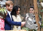 Britain's Prince Harry and Meghan, Duchess of Sussex meet Ruby a mother Koala who gave birth to koala joey Meghan, named after Her Royal Highness, with a second joey named Harry after His Royal Highness during a visit to Taronga Zoo in Sydney, Australia, Tuesday, Oct. 16, 2018. Prince Harry and his wife Meghan are on a 16-day tour of Australia and the South Pacific. (Dean Lewins/Pool via AP)