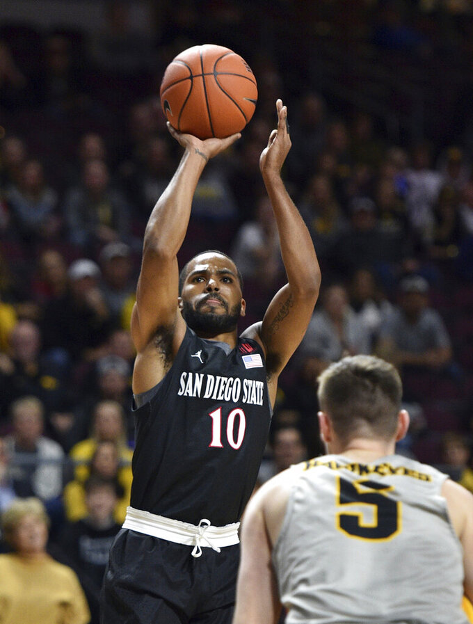 San Diego State guard KJ Feagin (10) shoots against Iowa guard CJ Fredrick during the first half of an NCAA college basketball game Friday, Nov. 29, 2019, in Las Vegas. (AP Photo/David Becker)