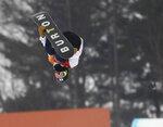 Ayumu Hirano, of Japan, jumps during the men's halfpipe finals at Phoenix Snow Park at the 2018 Winter Olympics in Pyeongchang, South Korea, Wednesday, Feb. 14, 2018. (AP Photo/Lee Jin-man)