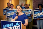 Jennifer McClellan, a candidate for Virginia Governor, speaks to supporters during Democratic Party primary election day in Richmond, Va., on Tuesday, June 8, 2021. (Daniel Sangjib Min/Richmond Times-Dispatch via AP)