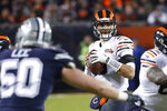 Chicago Bears quarterback Mitchell Trubisky (10) looks to throw during the first half of an NFL football game against the Dallas Cowboys, Thursday, Dec. 5, 2019, in Chicago. (AP Photo/Charles Rex Arbogast)