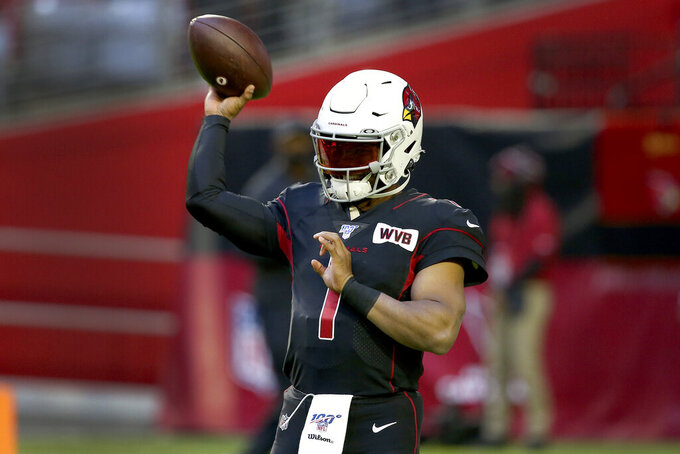 Arizona Cardinals quarterback Kyler Murray (1) warms up prior to an NFL football game against the San Francisco 49ers, Thursday, Oct. 31, 2019, in Glendale, Ariz. (AP Photo/Ross D. Franklin)