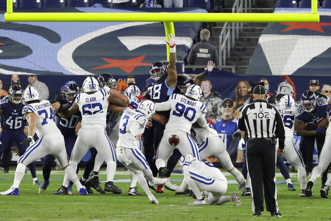 Indianapolis Colts kicker Rodrigo Blankenship (3) kicks a 24-yard field goal against the Tennessee Titans in the first half of an NFL football game Thursday, Nov. 12, 2020, in Nashville, Tenn. (AP Photo/Ben Margot)