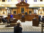 South Carolina Sen. Greg Gregory gives his farewell speech on Tuesday, Sept 22, 2020, at the Statehouse in Columbia, South Carolina. The Republican from Lancaster has spent 24 years in the South Carolina Senate.  (AP Photo/Jeffrey Collins)