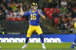 Los Angeles Rams quarterback Jared Goff (16) passes against the Cincinnati Bengals during the second half of an NFL football game, Sunday, Oct. 27, 2019, at Wembley Stadium in London. (AP Photo/Tim Ireland)