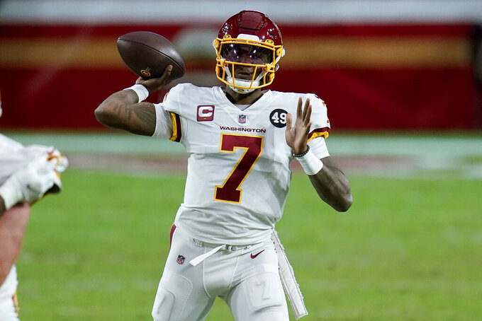 Washington Football Team quarterback Dwayne Haskins (7) throws against the San Francisco 49ers during the second half of an NFL football game, Sunday, Dec. 13, 2020, in Glendale, Ariz. (AP Photo/Ross D. Franklin)