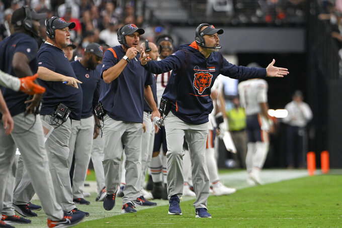Chicago Bears head coach Matt Nagy reacts on the sideline during the second half of an NFL football game against the Las Vegas Raiders, Sunday, Oct. 10, 2021, in Las Vegas. (AP Photo/David Becker)