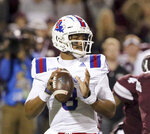 Louisiana Tech quarterback J'Mar Smith (8) prepares to pass the ball during the first half of an NCAA college football game against Mississippi State, Saturday, Nov. 3, 2018, in Starkville, Miss. (AP Photo/Jim Lytle)