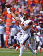 Syracuse quarterback Eric Dungey throws a pass during the second half of an NCAA college football game against Clemson Saturday, Sept. 29, 2018, in Clemson, S.C. Clemson won 27-23. (AP Photo/Richard Shiro)