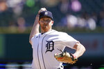 Detroit Tigers starting pitcher Spencer Turnbull throws during the first inning of a baseball game against the New York Yankees, Saturday, May 29, 2021, in Detroit. (AP Photo/Carlos Osorio)